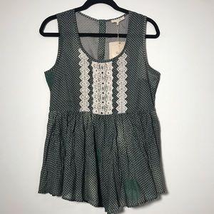 Anthropologie Ryu Green Crochet & Embellished Top